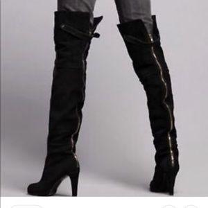 Kelsi dagger zip up thigh high boots